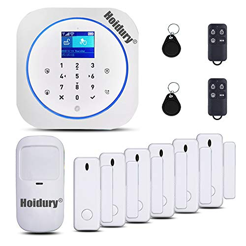 App-Controlled-24Ghz-WiFi-2G-GSM-Home-Security-Alarm-System-DIY-Kit-Auto-Dial-for-Home-Security-Office-Apartment-No-Monthly-Fee-1-PIR-Motion-Sensor-6-Door-Contacts-2-Remote-Controller-2-RFID-Tags