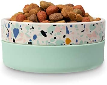 Now House for Pets by Jonathan Adler Now House Mint Terrazzo Duo Bowl, Small   Dishwasher Safe, Easy Clean Dog Bowl with Anti-Skid Lid   Dual Functionality Bowl for Dogs for Storage or Travel