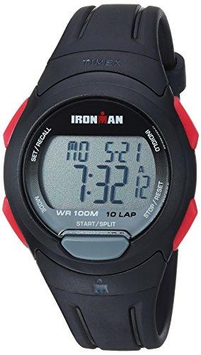 Timex Men's TW5M16400 Ironman Essential 10 Black/Red Resin Strap Watch