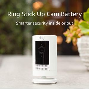 Ring Stick Up Cam Battery HD security camera with custom privacy controls, Simple setup, Works with Alexa – White (3rd Gen, 2019 release)