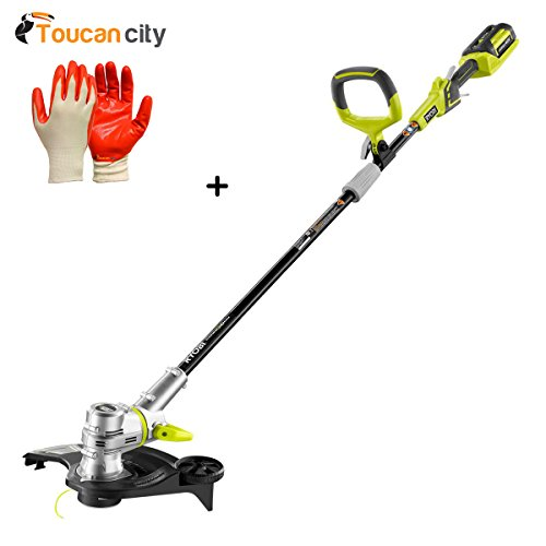 Ryobi 40-Volt Lithium-Ion Cordless String Trimmer/Edger - 2.6 Ah Battery and Charger Included RY40210B and Toucan City Nitrile Dip Gloves (5-Pack)