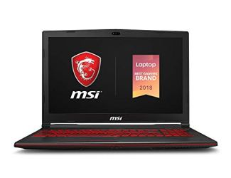 MSI GV63 8SE-014 15.6' Performance Gaming Laptop NVIDIA RTX 2060 6G, 120Hz 3ms, Intel i7-8750H (6 cores), 16GB, 256GB NVMe SSD+1TB,  Red Backlit KB, Win 10, Black