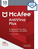 McAfee AntiVirus Plus| Internet Security|10 Device| 1 Year Subscription| Activation Code by Mail| 2019 Ready