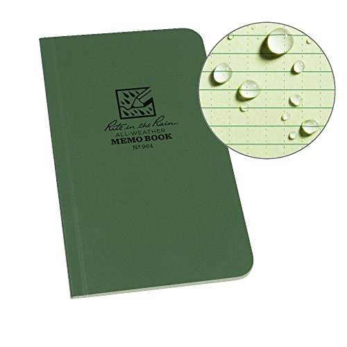"Rite in the Rain All-Weather Soft Cover Pocket Notebook, 3 1/2"" x 6"", Green Cover, Universal Pattern (No. 964)"