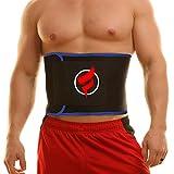 Fitru Waist Trimmer Weight Loss Ab Belt for Women & Men - Waist Trainer Stomach Wrap (Blue, S: 9' X 34')