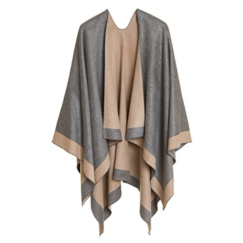 116cad5a370a6 Cardigan Poncho Cape: Women Elegant Gray Cardigan Shawl Wrap Sweater Coat  for Winter