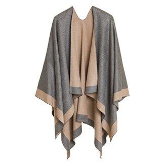 cb194704ee092 Cardigan Poncho Cape  Women Elegant Gray Cardigan Shawl Wrap Sweater Coat  for Winter