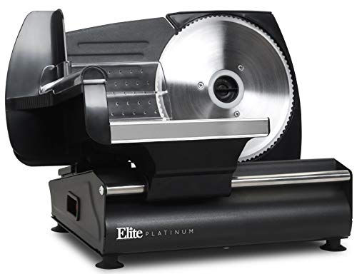 Elite Platinum EMT-625B Ultimate Precision Electric Deli Food Meat Slicer Removable Stainless Steel Blade, Adjustable Thickness, Ideal for Cold Cuts, Hard Cheese, Vegetables & Bread, 7.5', Black