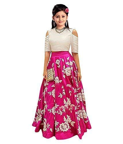bless you Enterprise Girl's Banglory Silk Dress Material (Pink, 10-15 Years, Semi-Stitched)