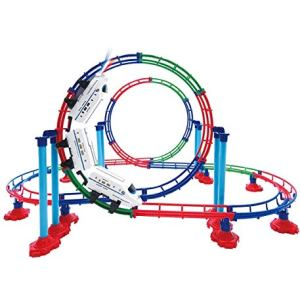 Mozlly Battery Powered High Speed Grand Bullet Roller Coaster Train 112 Pc Loop Race Track – Operated Car Railway Building Play Set for Boys, Girls, Kids 15″ 41toqoE18BL