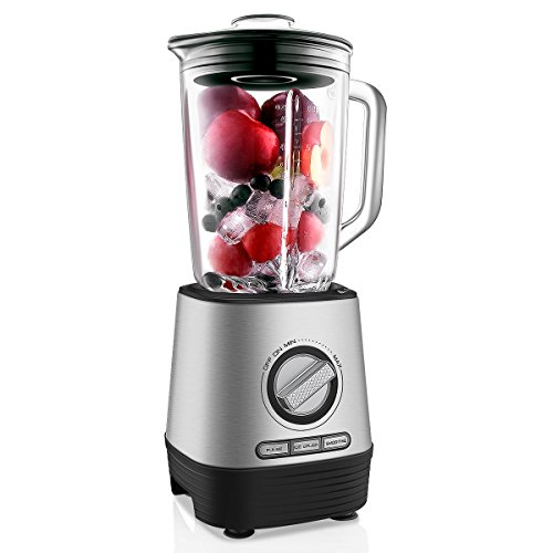 Professional Countertop Blender, Household Blender Food Processor with 1500 Milliliter Glass Jar, Preset Functions and Variable Speed Control for Smoothies, Shakes and Frozen Drinks
