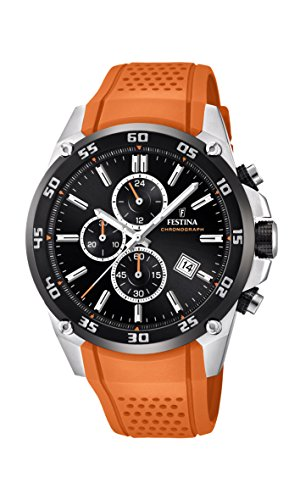 Festina 'The Originals Collection' Men's Quartz Watch with Black Dial Chronograph Display and Orange Rubber Strap F20330/4