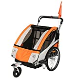 Clevr Collapsible 3-in-1 Double Bicycle Trailer Baby Bike Jogger/Stroller Jogging Running Kids Cart Bike Trailer - Foldable for Storage