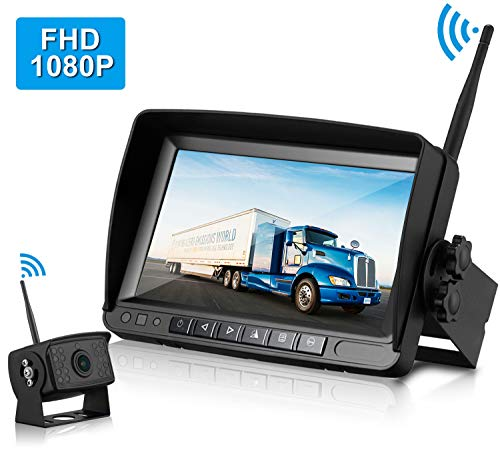 ZSMJ FHD 1080P Digital Wireless Backup Camera System Kit,No Interference,IP69 Waterproof Wireless Rear View Camera and 7 Inch LCD Wireless Reverse Monitor for Rv/Truck/Trailer/Bus/Pickup/Van