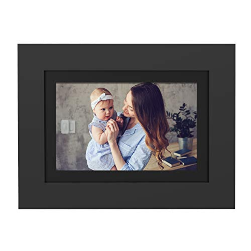 "SimplySmart Home PhotoShare Social Network Frame 8"", Send Pics from Phone to Frame, Wi-Fi, Cloud, Digital Picture Frame, Holds Over 1,000 Photos, HD, 1080P, Black/White Mats"