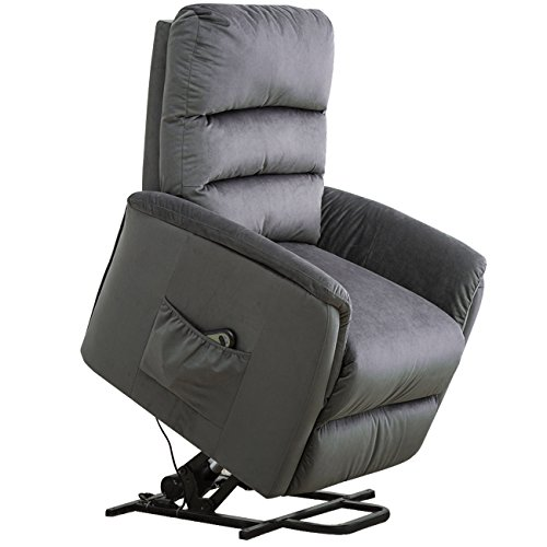 BONZY Lift Recliner Contemporary Power Lift Chair Soft and Warm Fabric with Remote Control for Gentle Motor - Slate Gray