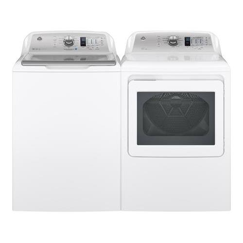 GE White Top Load Laundry Pair with GTW680BSJWS 27″ Washer and GTD65EBSJWS 27″ Electric Dryer
