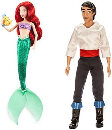 Amazon Com Disney Interactive Studios Ariel Classic Doll With Flounder Figure Prince Eric Classic Doll The Little Mermaid 12 Toys Games