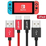 Charger Charging Cable for Nintendo Switch, 2 Pack 6.6Ft USB Type C Cable Nylon Braided USB C to USB A Fast Data Sync Cord for Nintendo Switch, Google Pixel, Samsung Galaxy S9 S8 Note 9 (Red+Black)