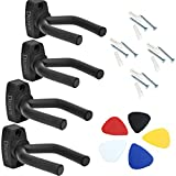 Guitar Ukulele Bass Mandolin Banjo Wall Mounts Hangers Black (set of 4)
