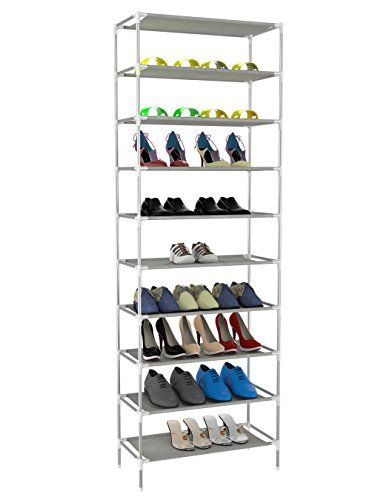 Oanon 10 Tiers Shoe Rack Easy Assembled Non-woven Fabric Shoe Tower Stand Sturdy Shelf Storage Organizer Cabinet[US STOCK]
