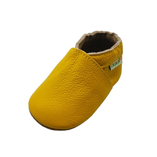 Sayoyo Lowest Best Baby Soft Sole Prewalkers Skid-Resistant Baby Toddler Shoes Cowhide Shoes (18-24 Months, Yellow)