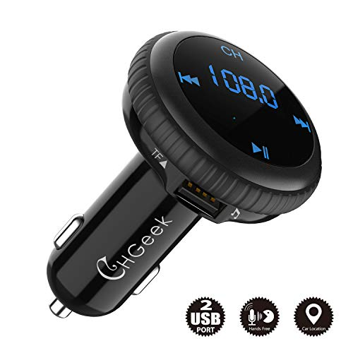 Bluetooth FM Transmitter for car, Wireless Radio Adapter Car Kit with Bluetooth 4.2, Smart Car Locator, Dual USB Car Charger, Hands-Free Calling