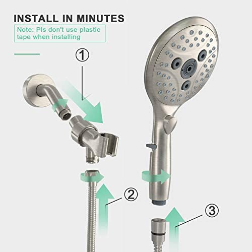 Suncleanse Shower Head, 7 Settings Hand held Shower with ON/OFF Pause Switch, Brushed Nickel High Pressure Shower Head with 71 inch Hose 16