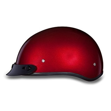 DOT Cherry Red Motorcycle Half Helmet with Visor