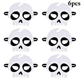 Coxeer White Mask, Halloween Mask Skeleton Head Felt Cosplay Mask Masquerade Mask for Costume Party Acccessory