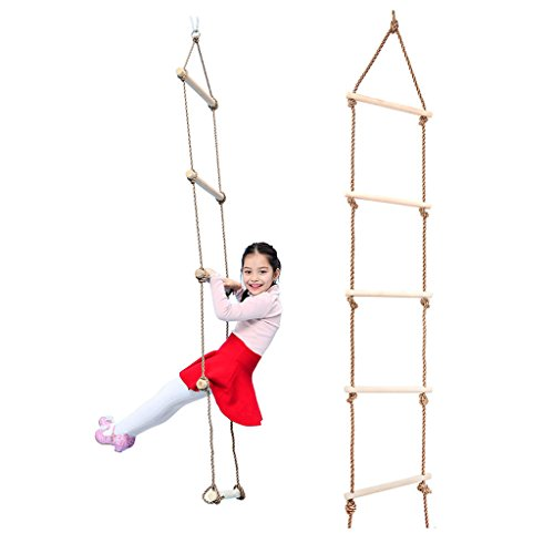 MonkeyJack Indoor and Outdoor Playhouse Swing Set Wooden 5 Rungs Rope Climbing Ladder Toy