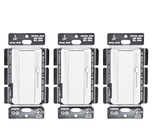 Hyperikon 3 Way Dimmer, Single Pole Rocker and Slide, LED Wall Light Switch, White, 150W LED CFL, 3 Pack