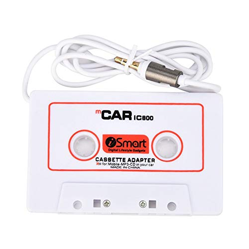 Car Tape Cassette to Aux Adapter Cable Cord 3.5 mm Stereo Plug Car Audio Cassette Adapter Compatible Smart Phone, MP3, MP4, CD, MD, PC, DVD Player, White