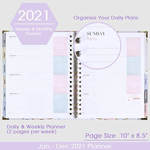 "2021 Planner - Weekly & Monthly Planner with Tabs + Luxury Vegan Leather and Thick Paper, Back Pocket with 15 Notes Pages + Gift Box - 8.25"" x 9.25"" 3"