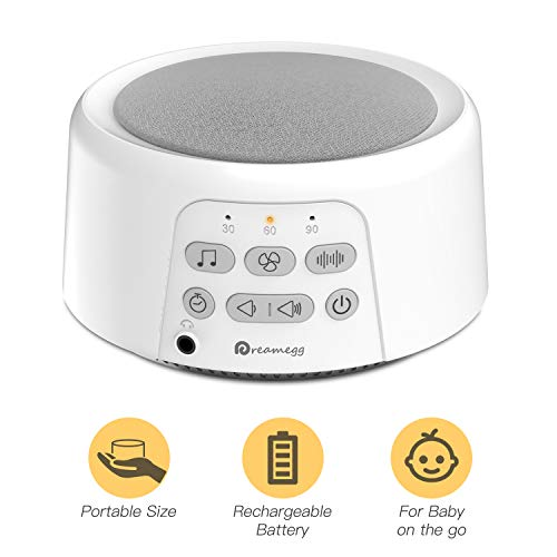 Portable Sound Machine - Dreamegg D3 White Noise Machine for Sleeping, 24 Soothing HiFi Sound, Continuous or Timer, Sleep Therapy Sound Machine for Baby Adult Traveler, Rechargeable Battery or Plug In