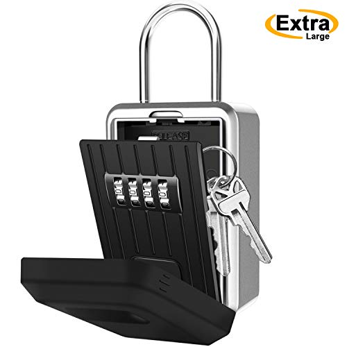 Key Lock Box with 4-Digit Combination, Lock Box for House Key, Wall Mounted Weatherproof Resettable Combination Padlock, Ideal for Homes Hotels Schools and Businesses (with Waterproof Cover)