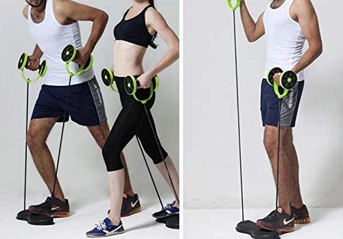 Tofreedomwind Abdominal Multifunctional Exercise Equipment Ab Wheel Double Roller with Resistance Bands/Knee mat Waist Slimming Trainer at Home Gym 8