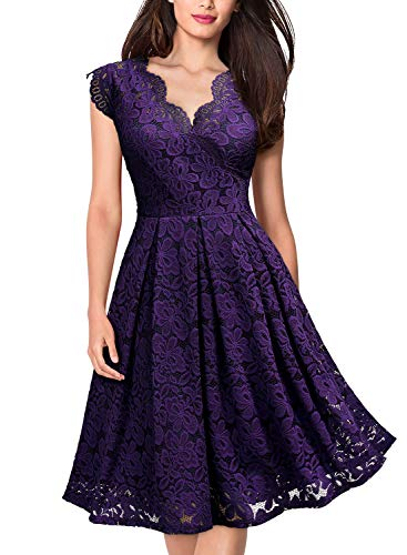 MISSMAY Women's Vintage Floral Lace Short Sleeve V Neck Cocktail Formal Swing Dress 1 Fashion Online Shop gifts for her gifts for him womens full figure