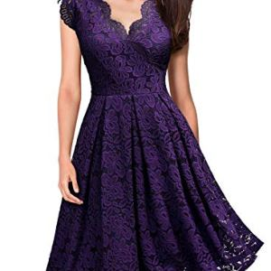 MISSMAY Women's Vintage Floral Lace Short Sleeve V Neck Cocktail Formal Swing Dress 7 Fashion Online Shop gifts for her gifts for him womens full figure