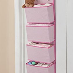 Delta Children 4 Pocket Over The Door Hanging Organizer, Easy Storage/Organization Solution – Versatile and Accessible in Any Room in the House, Barely Pink