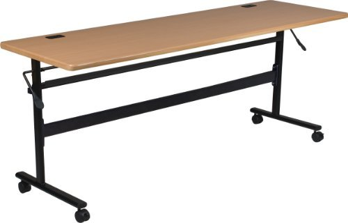 MooreCo Essentials Flipper Training Table 72x24 Teak Top Black Base (90094)