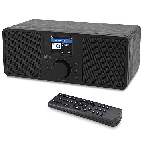 Ocean Digital WiFi/FM Internet Radio WR230S Alarm Clock Radio with Bluetooth Receiver & Ethernet Port, Stereo Speakers, Line Out, Aux in, 20,000+ Stations, 2.4' Color Display- Black in Wooden Case