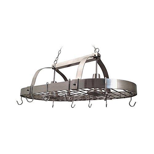 Elegant Designs PR1000-BSN Home Collection 2 Light Kitchen Pot Rack with Down Lights, Brushed Nickel