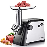 Homeleader Meat Grinder, Electric Meat Mincer Sausage Stuffer, Stainless Steel Heavy Duty Food Grinder with 3 Grinding Plates, Sausage Making Kit, Blade and Kubbe Attachment, ETL Approved