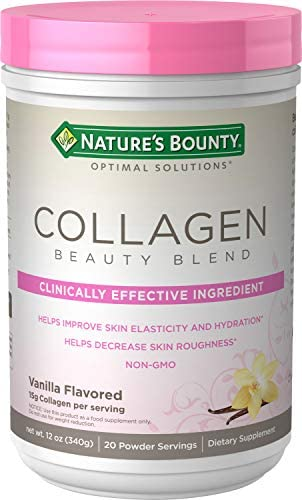 Collagen Beauty Blend by Nature's Bounty Optimal Solutions, Dietary Supplement, Supports Skin Health, Vanilla Flavor, 15g Per Serving, 20 Powder Servings 1