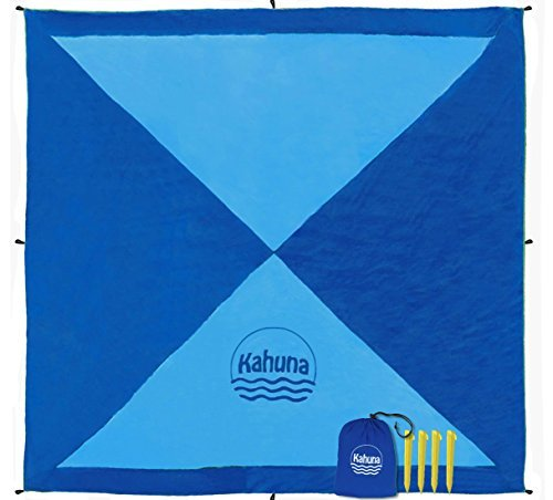 Kahuna Parachute Beach Blanket - Picnic Blanket - Outdoor Blanket - Beach Accessories - No Sand Beach Sheet (Extra Large XL 8x8 Feet) - Dark Blue