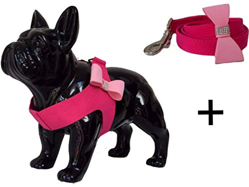 Bowtie Dog Harness and Leash Set for Small Dogs and XSmall Dogs in Pink Black or Blue Soft Vest Step in Style Suitable for Dogs, Cats, Kittens, Rabbits, Puppy, Bunnies 1