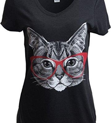 Red Linda Glasses Cat   Sassy Funny Kitty Belcher Cute V-Neck...