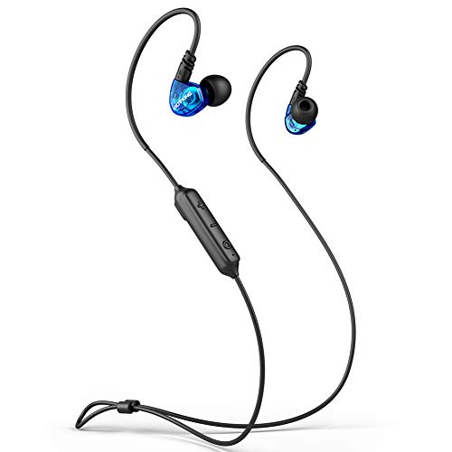 ROVKING Ear Buds Wireless Headphones 5.0 Bluetooth Earbuds with Mic, IPX5 Sweatproof Sports Headset for Running Gym Workout, Earphones for Cell Phones Laptop TV, Low Latency in Ear Monitor 10H (Blue)