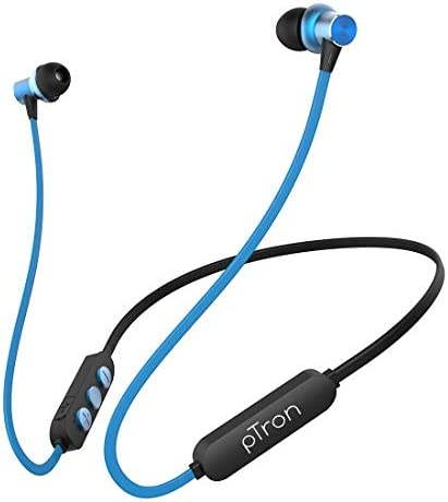 pTron Bassfest Plus Magnetic in-Ear Bluetooth 5.0 Wireless Headphones, Stereo Sound with Bass, IPX4 Water & Sweat Resistant, Voice Assistance, Ergonomic & Lightweight, Built-in Mic – (Black & Blue)